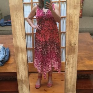 Dressbarn sleeveless summer dress pink and coral